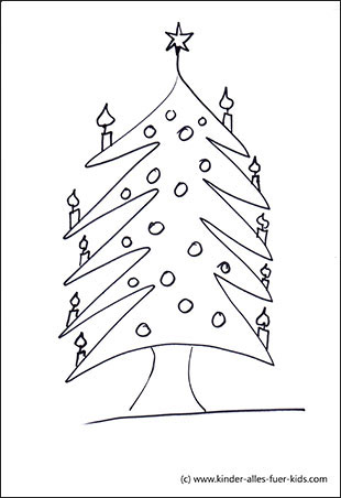 malvorlage weihnachtsbaum mit kugeln